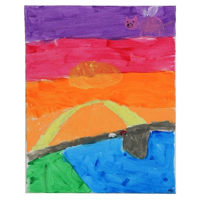 Maya (Age 8) River Scene with Flying Pig Acrylic Painting