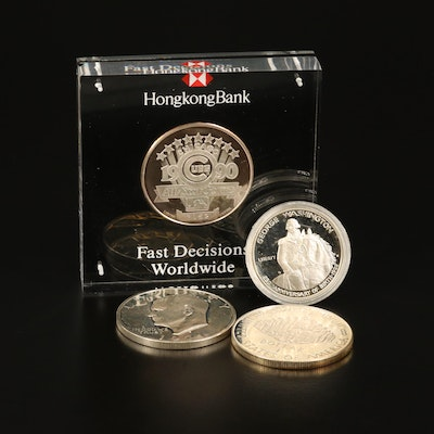Assorted Silver Coins and All-Star Game Round