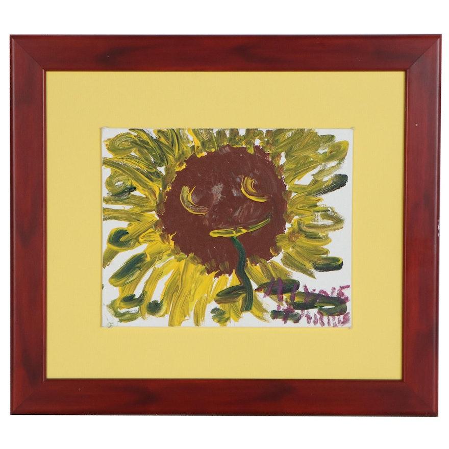 Alyne Harris Folk Art Acrylic Painting of Sunflower, 21st Century