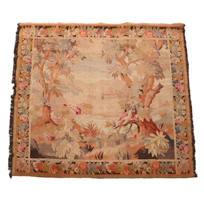 Large-Scale Handwoven European Landscape Wall Tapestry