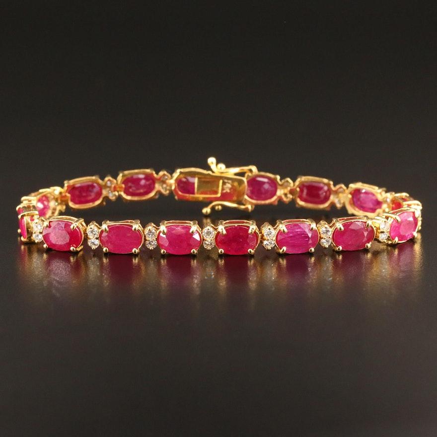 14K Corundum and 1.02 CTW Diamond Link Bracelet
