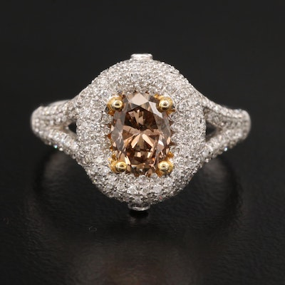 18K 1.47 CTW Diamond Ring with Split Shoulders