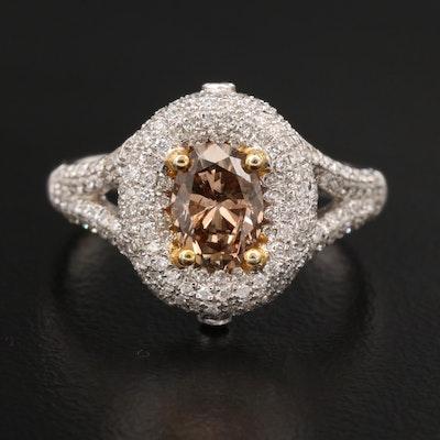 18K 1.47 CTW Diamond Ring with Split Shoulders