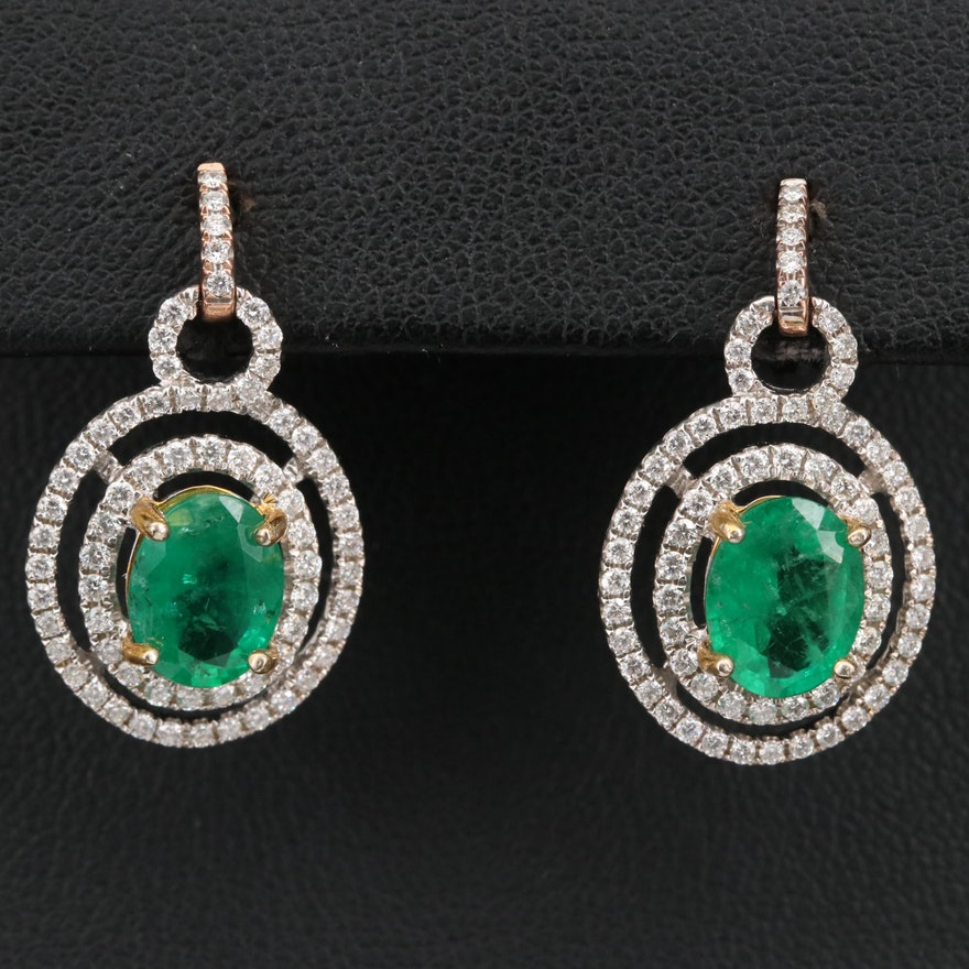 14K 3.26 CTW Emerald and Diamond Double Halo Earrings