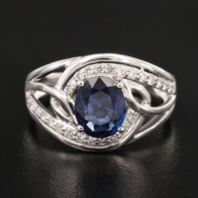 Platinum 1.85 CT Sapphire and Diamond Ring