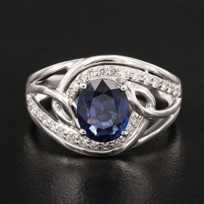 Platinum 1.85 CT Sapphire and Diamond Ring