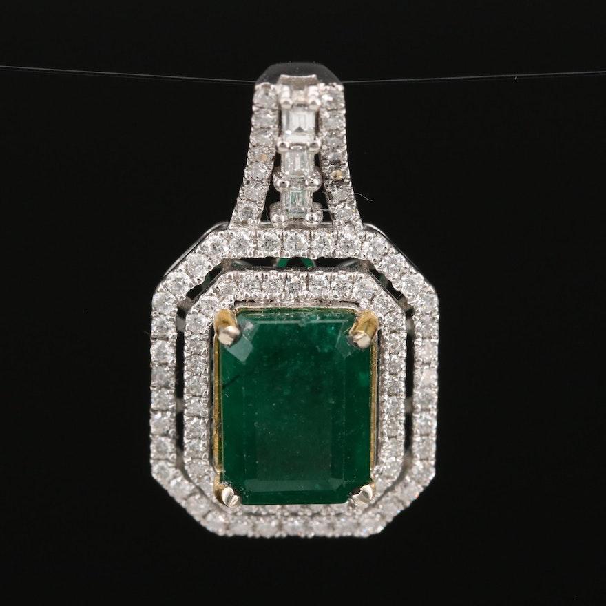 14K 3.27 CT Emerald and Diamond Pendant