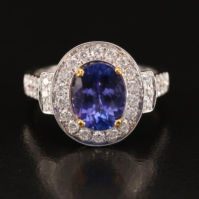 14K 2.06 CT Tanzanite and Diamond Ring