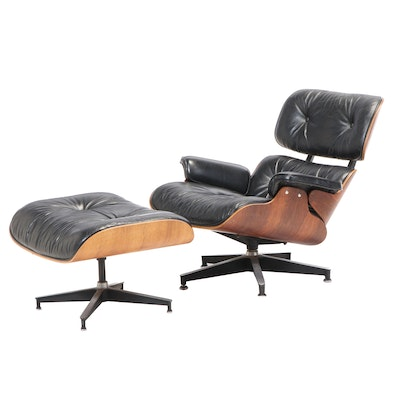 Eames for Herman Miller Rosewood Lounge Chair and Ottoman, dated 1975