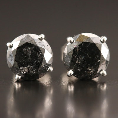 14K 3.52 CTW Black Diamond Stud Earrings