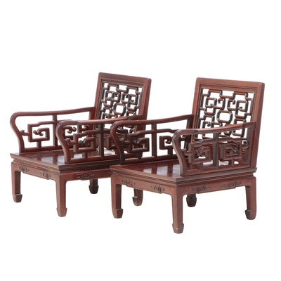 Pair of Chinese Huali Armchairs