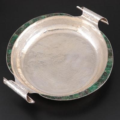 Emilia Castillo Hammered Silver Plate and Malachite Centerpiece Bowl