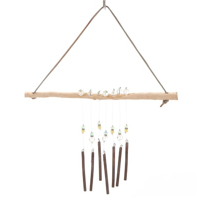 Artisan-Crafted Faceted Bead, Branch and Metal Wind Chime
