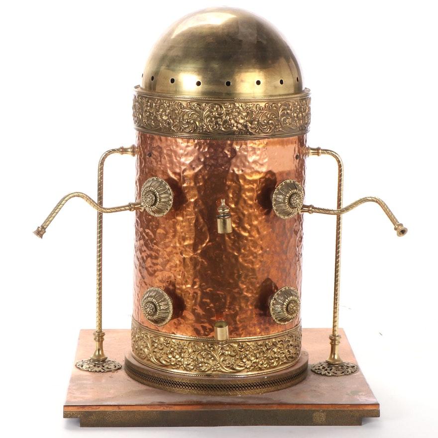 Italian Hammered Copper and Brass Espresso Machine Dome, Mid-Late 20th Century