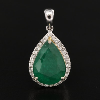 14K 3.60 CT Emerald and Diamond Teardrop Pendant