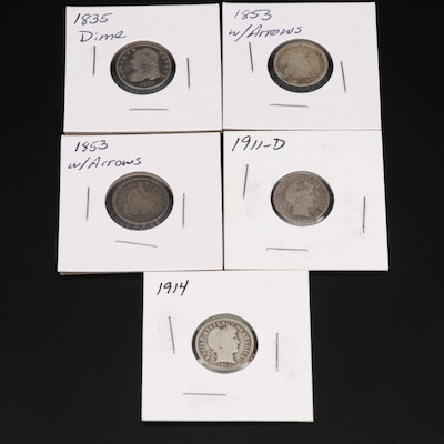 Collection of Silver Dimes, 1835–1914