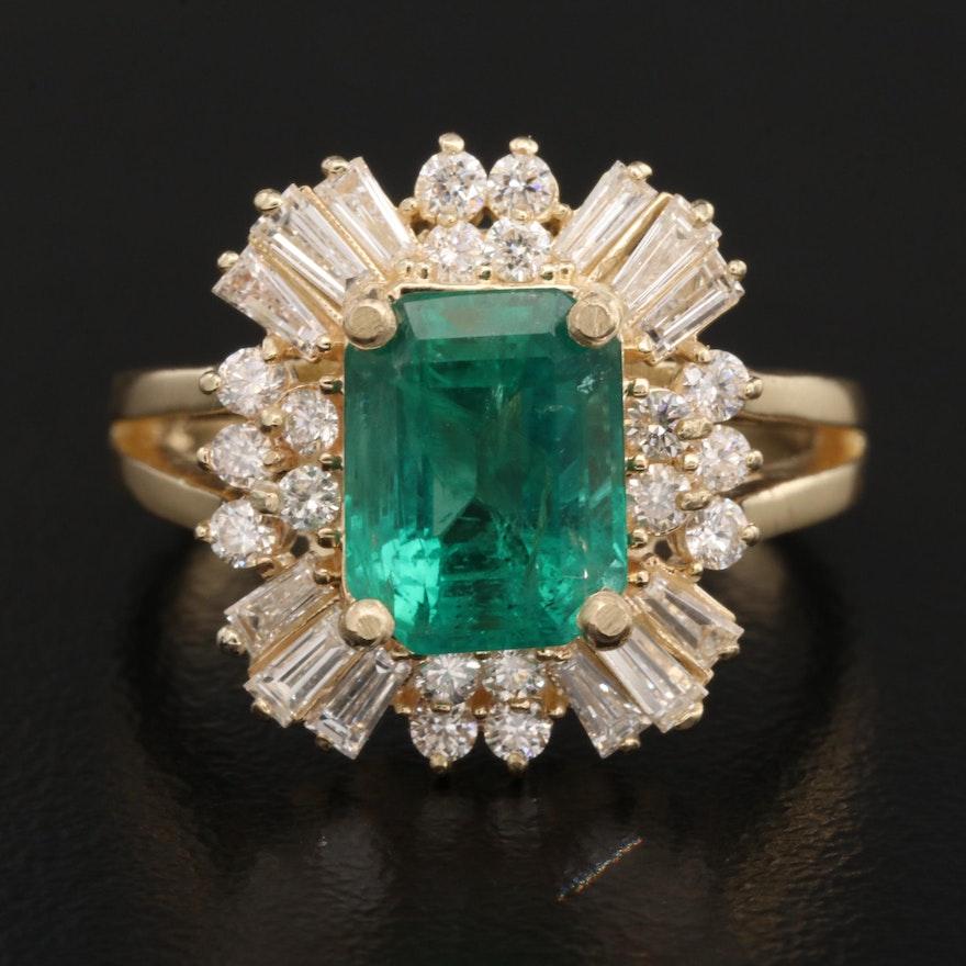 14K 2.10 CT Emerald and 1.00 CTW Diamond Ring
