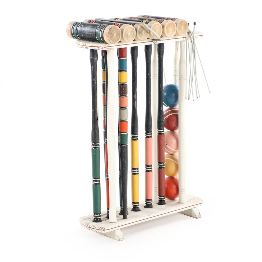 Paint-Decorated Wood Croquet Set with Stand, 20th Century