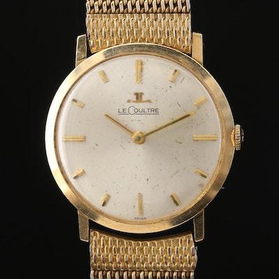 Vintage LeCoultre Ultra-Thin 14K Gold Stem Wind Wristwatch