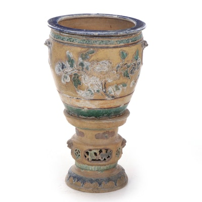 Chinese Ming Style Glazed Pottery Jardiniere on Stand