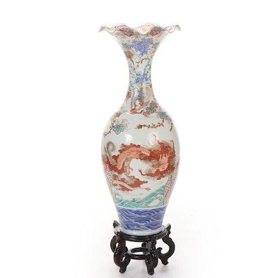 Large Japanese Imari Enameled and Gilt-Decorated Porcelain Floor Vase