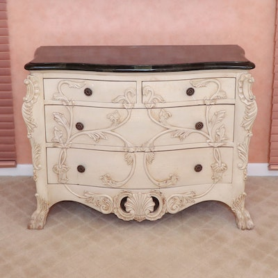 French Provincial Style Painted Wood and Composite Top Commode