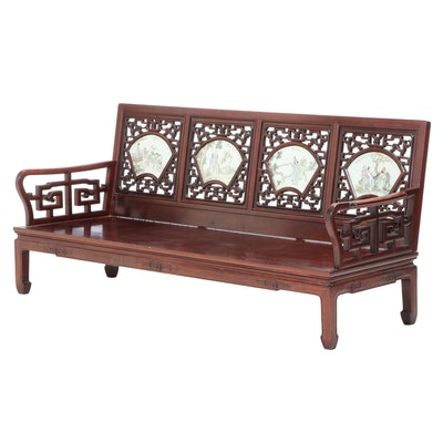 Chinese Porcelain-Mounted Huali Settee