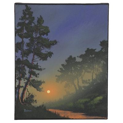 "Douglas ""Bumo"" Johnpeer Oil Painting ""Sunset Creek"""