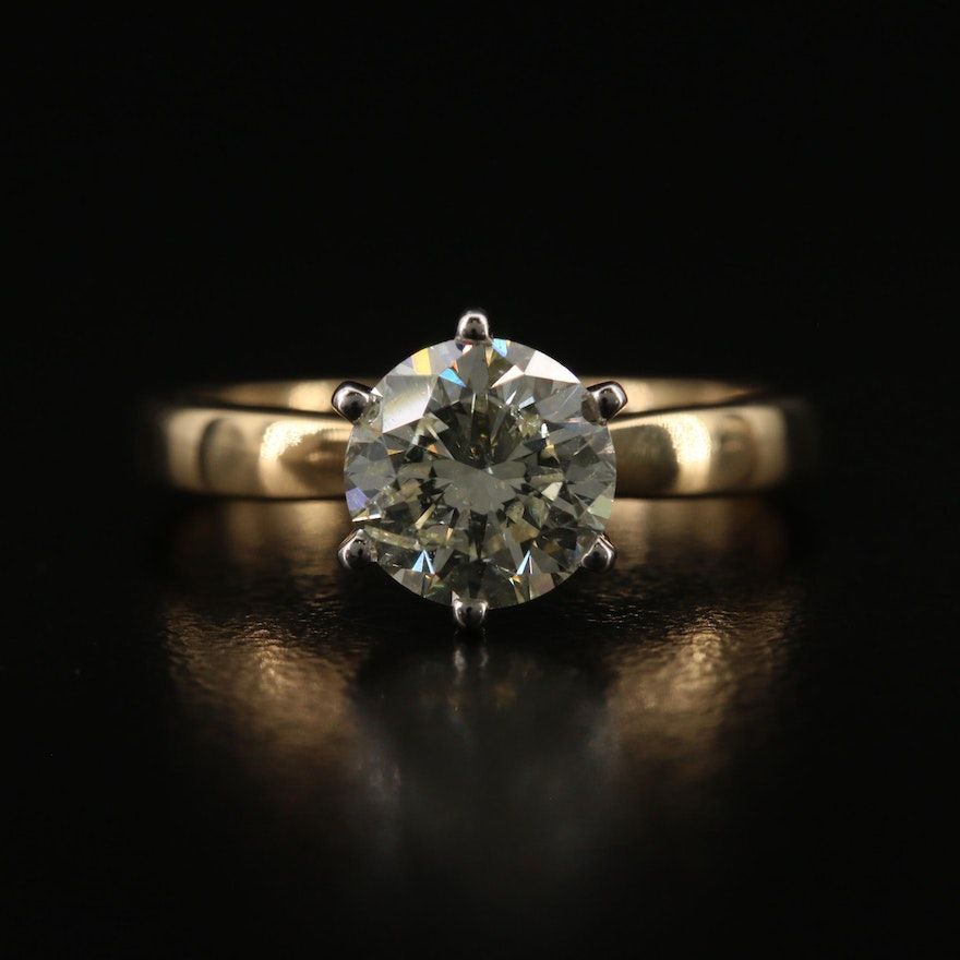 18K 1.45 CT Diamond Solitaire Ring with Platinum Setting