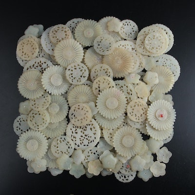 Chinese Carved Serpentine Flowers and Discs