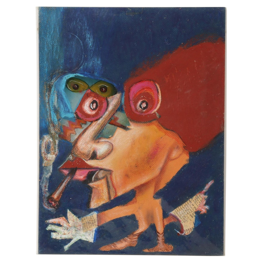 Janice Schuler Mixed Media Drawing of Abstract Figure Smoking Cigarette