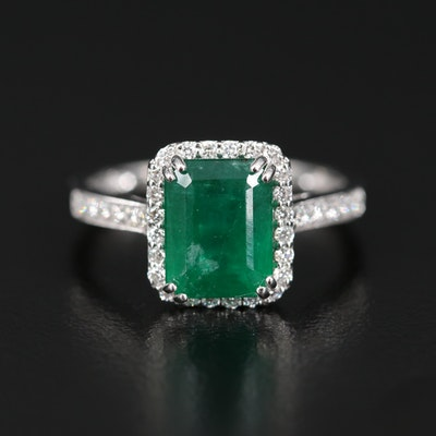 Platinum 2.75 CT Emerald and Diamond Ring