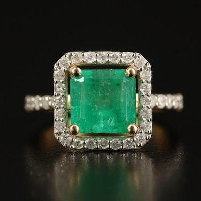 14K 3.02 CT Emerald and Diamond Ring
