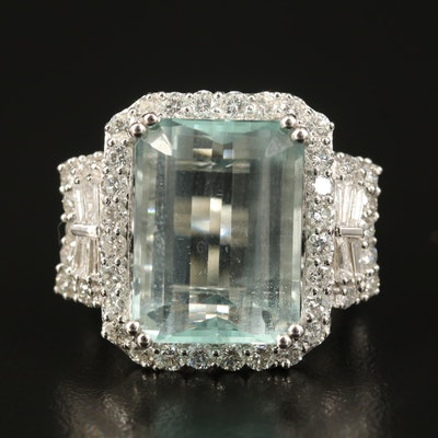 14K 13.30 CT Aquamarine and 2.11 CTW Diamond Ring
