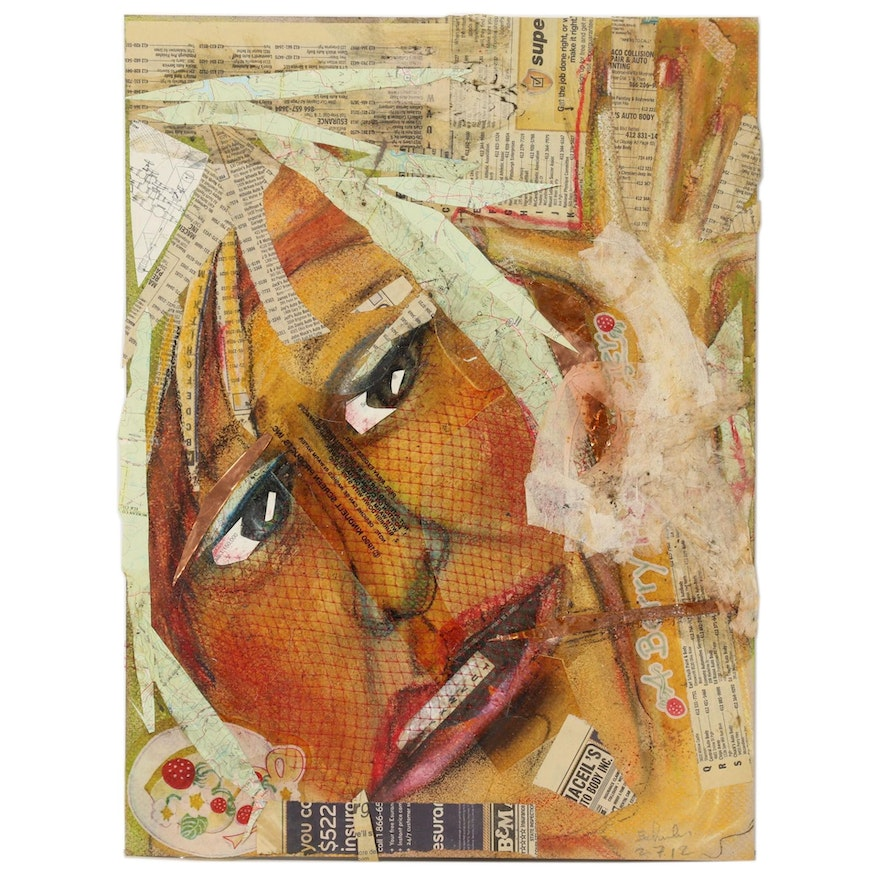 Janice Schuler Mixed Media Composition of Abstract Portrait, 2012