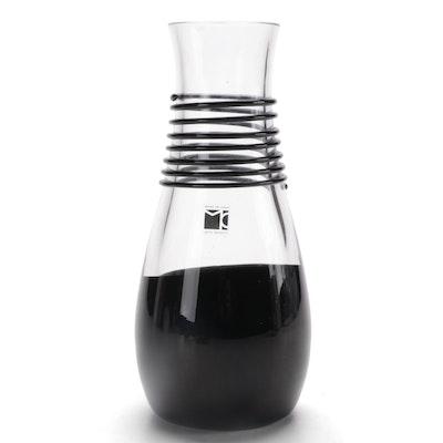 """Carlo Moretti Signed """"Neroauro"""" Italian Art Glass Vase"""
