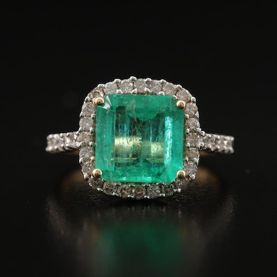 14K 2.88 CT Emerald and Diamond Ring