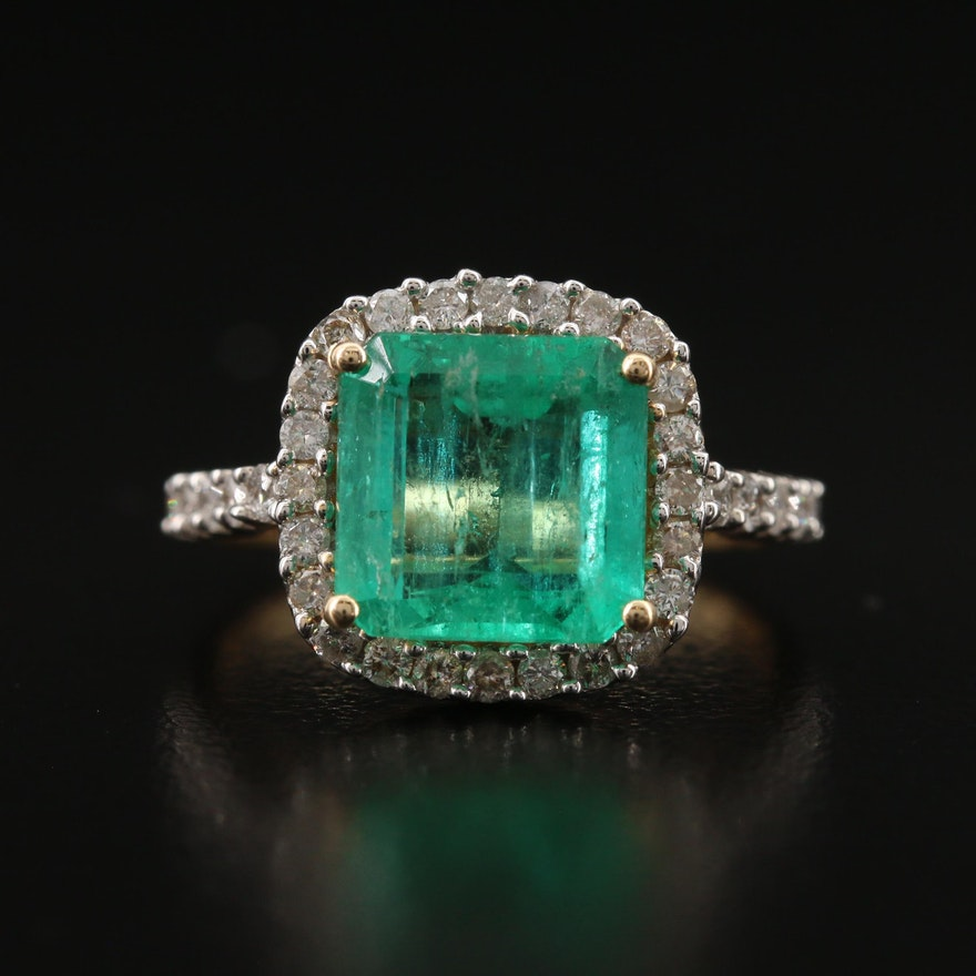 14K 2.88 CT Emerald and Diamond Ring