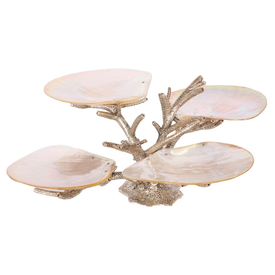 Mother-of-Pearl Four Shell Soap Stand