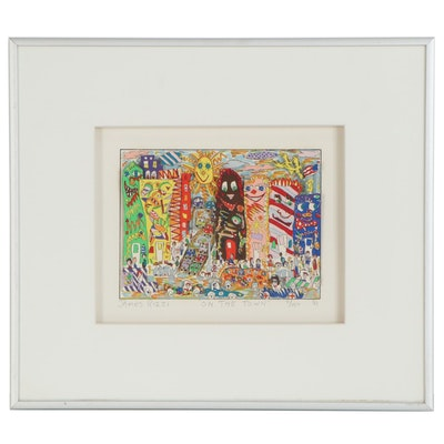 """James Rizzi Three-Dimensional Serigraph """"On the Town,"""" 1984"""