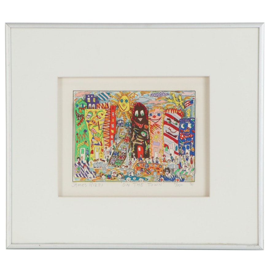 "James Rizzi Three-Dimensional Serigraph ""On the Town,"" 1984"