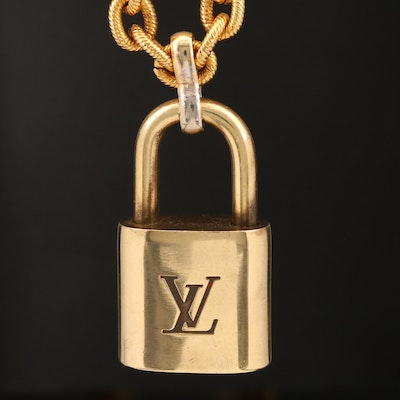 Louis Vuitton Padlock on Oval Textured Cable Link Chain