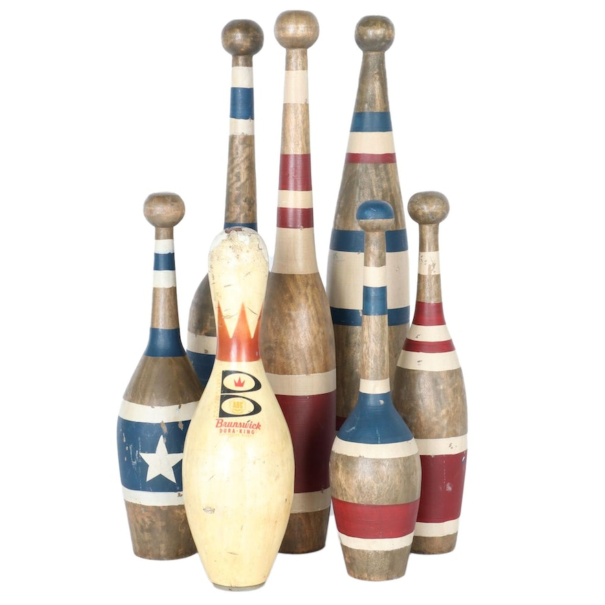 Vintage Juggling and Bowling Pin Collection, Including Brunswick Dura-King