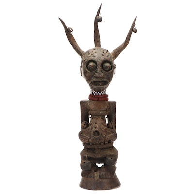 "Songye Style Horned ""Nikisi"" Power Figure, Democratic Republic of the Congo"