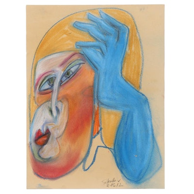 Janice Schuler Pastel Drawing of Abstract Portrait, 2012