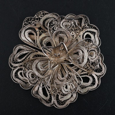 Mexican Silver Filigree Brooch