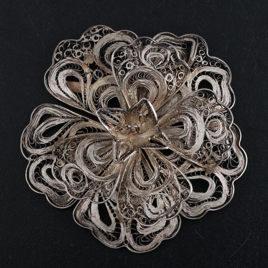 Mexican Silver Filigree Brooch