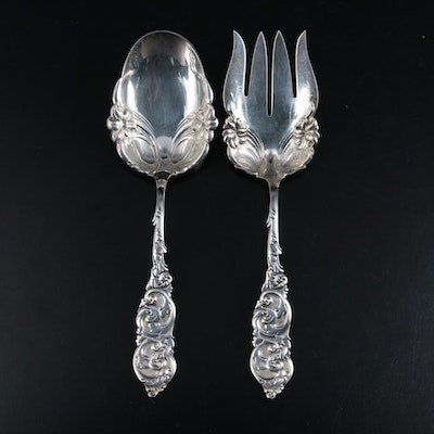 "Amston ""Gladstone"" Sterling Silver Salad Serving Set, Early to Mid 20th Century"