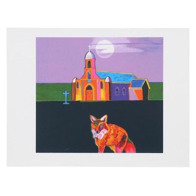 "John Nieto Serigraph ""Puerto de Luna Church,"" 1996"