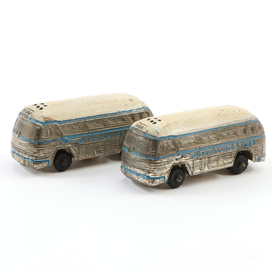 Greyhound Bus Die-Cast Metal Salt and Pepper Shakers